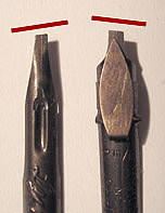 The left cut nib compared to the right cut nib.