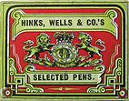 Antike Schreibfederschachtel, Hinks, Wells & Co, No. 2411-1 F