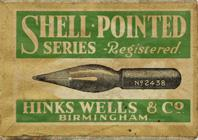 Antike Schreibfederschachtel, Hinks, Wells & Co, No. 2438 EF, Reg., Shell pointed