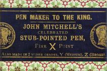 Antike Schreibfederschachtel, William Mitchell, X, F, Celebrated Stub-Pointed Pen