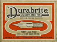 Antike Schreibfederschachtel, Perry & Co Ltd., No. 34, Durabrite Stainless