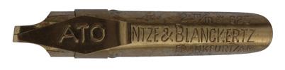 Antike Kalligraphie Bandzugfeder, Heintze & Blanckertz, No. 625, Ato, 2mm, Typ 2