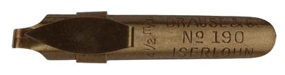 """Antike Bandzugfeder, Brause & Co, No. 190, 2,5mm, mit """"Aufkante"""""""