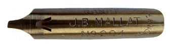 Antike Bandzugfeder, J. B. Mallat, No. 204, Plume en Ronde