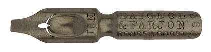 Antike Kalligraphie Bandzugfeder, Baignol & Farjon, No. 588-1, Ronde a Godet
