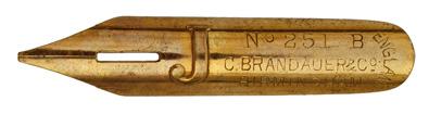 Antike Kalligraphie Bandzugfeder, C. Brandauer & Co, No. 251 B, Gilt, Typ 3