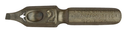 Antike Bandzugfeder, Blanzy Poure & Cie, No. 522-2, Plume Grenade, 1,95mm