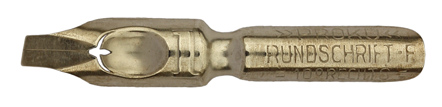 Antike Bandzugfeder, Proku, No.1, Rundschrift F, 10° rechts