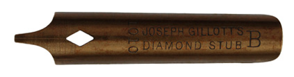 Antike Kalligraphie Bandzugfeder, Joseph Gillott, No. 1010 B, Diamond Stub