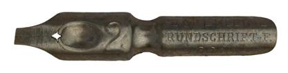 Antike Kalligraphie Bandzugfeder, Carl Kleine, No. 2, Rundschrift-F