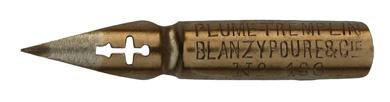 Antike Kalligraphie Spitzfeder, Blanzy-Poure & Cie, No. 160, Plume Tremplin, Typ 1
