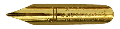 Antike Bandzugfeder, C. Brandauer & Co, No. 251 M, Gilt