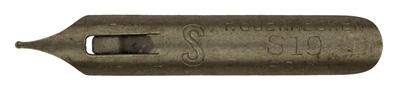 """Antike Pfannenfeder, F. Soennecken, No. S 19, Typ 2, """"DRP, AUSL PAT"""""""