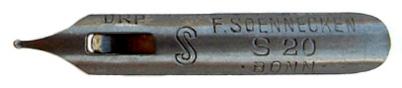 Antike Pfannenfeder, F. Soennecken, No. S 20, Sütterlin-Feder, Typ 1