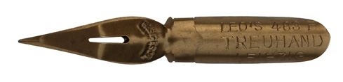 Antike Kalligraphie Spitzfeder, E. W. Leo Nachfolger, No. 483 F, Treuhand mit Rundspitze