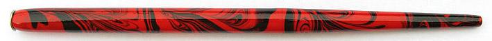 Federhalter mit Globuseinsatz, rot-schwarz marmoriert