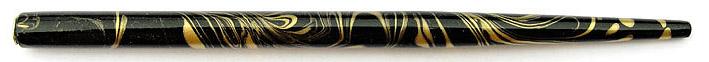 Federhalter, Schwarz / Gold marmoriert