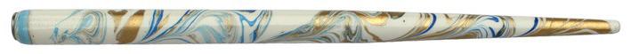 Federhalter mit Globuseinsatz, Weiß / Dunkelblau / Gold marmoriert