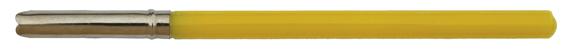 Antiker französischer Federhalter mit Kunststoff-Griff und Metallzwinge, Gelb
