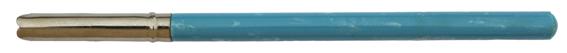 Antiker französischer Federhalter mit Kunststoff-Griff und Metallzwinge, Blau