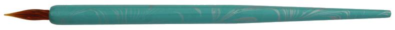 Federhalter 50er-blau-silber mit brauner Glasfeder-Spitze