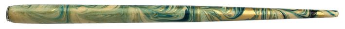 Federhalter mit Globuseinsatz, Natur / Türkis / Gold marmoriert