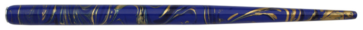 Federhalter mit Globuseinsatz, Blau / Schwarz / Gold marmoriert