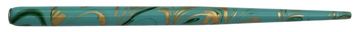 Federhalter mit Globuseinsatz, 50er-Blau / Dunkelgrün / Gold marmoriert
