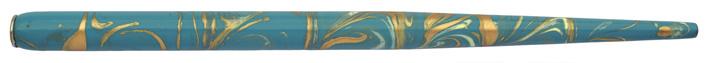 Federhalter mit Globuseinsatz, marmoriert, 50er-Blau / Elfenbein / Gold