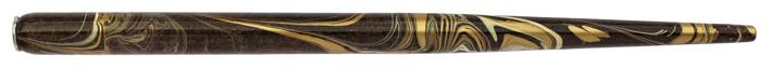 Federhalter mit Globuseinsatz, Nussbraun, Elfenbein, Gold marmoriert