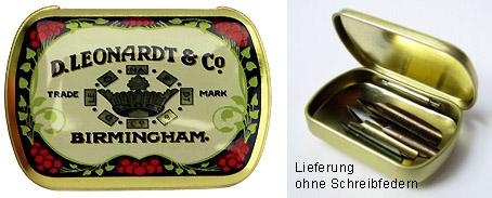 Kleine Metallschachtel zum Aufbewahren von Schreibfedern, D. Leonardt & Co