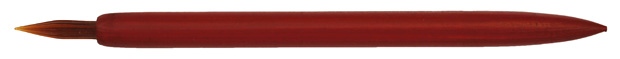 Antiker Halter aus Holz, rot, mit brauner Glasfederspitze