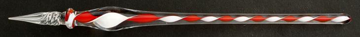 Handgearbeitete Glasfeder, Rot / Weiß