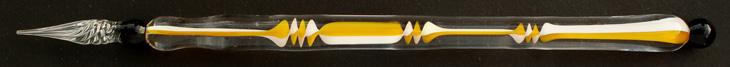 Handgearbeitete Glasfeder, Modell 3, Gelb / Weiß