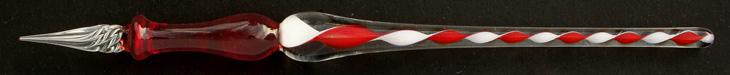 Handgearbeitete Glasfeder, Modell 2, Rot / Weiß