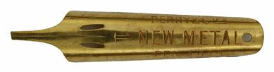 Antike linksgeschrägte Feder, Perry & Co, No. 1510 - 1, New Metal Pen