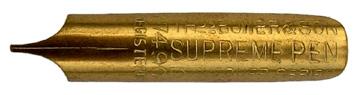 Antike linksgeschrägte Feder, Thomas Bower & Son, No. 7490, Supreme Pen, Exchequer Series