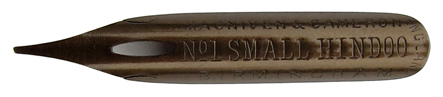 Antike linksgeschrägte Feder, Macniven & Cameron, No. 1, Small Hindoo Pen
