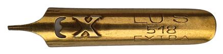 Antike linksgeschrägte Feder, Lus, No. 518, Extra
