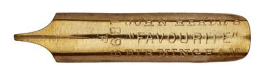 Antike linksgeschrägte Feder, John Heath, No. 1899 F, Favourite Pen
