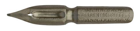 Antike linksgeschrägte Feder, F. Soennecken, No. 106½, Kurrentschrift F, Bonn-Leipzig