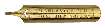 Antike linksgeschrägte Feder, No. 18, Gilt, Gaffré First Class, Lancaster Pen