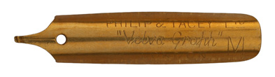 Antike linksgeschrägte Schreibfeder, Philip & Tacey Ltd., Velva-Graph