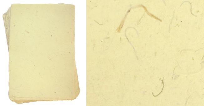 Handgeschöpftes Büttenpapier, A4, chamois, mit Pflanzenfaser-Einschlüssen