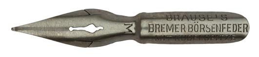 Antike Pfannenfeder, Brause & Co, Bremer Börsenfeder mit Kugelspitze M