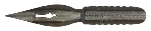 Antike Pfannenfeder, S. Roeder, No. 53 EF, Kugelzack, Typ 3