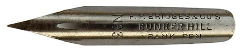 Kalligraphie-Spitzfeder, F. P. Bridges & Co's, No. 3, Bunker Hill Bank Pen