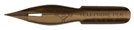 Antike Kalligraphie Spitzfeder, John Heath, No. 0278 F, Telephone Pen, Bronze