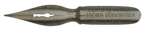 Antike Kalligraphie Spitzfeder, E. W. Leo, No. 490 EF, Deutsche Bremer Börsenfeder