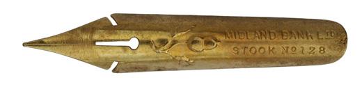 Antike Kalligraphie Spitzfeder, Midland Bank Ltd., Stook No. 128